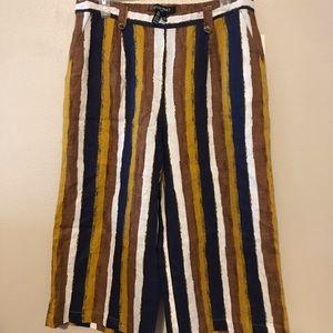 🌸 Ellen Tracy Striped Linen Crop Pant 🌸